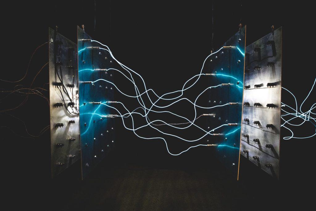 two square blue LED lights harvesting power 5g energy