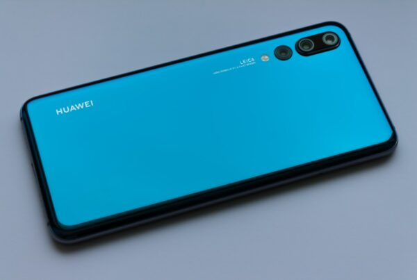 blue Huawei Android smartphone Huawei with USA