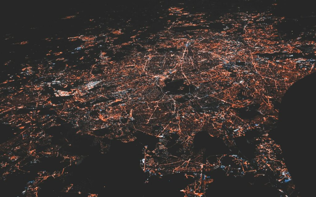 lighted city at night aerial photo Best Internet Providers in 2021