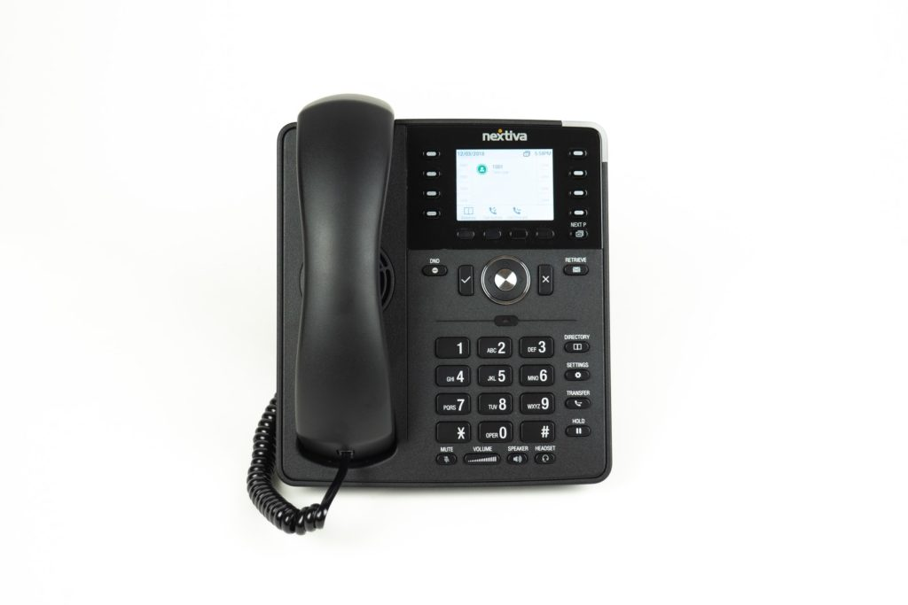 black and gray ip desk phone voip