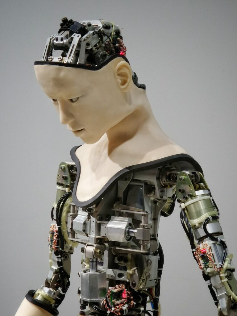 white and brown human robot illustration AI in telecom
